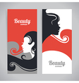 Banners with stylish beautiful woman silhouette vector image vector image