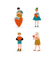 boys and girls holding red hearts set happy vector image vector image