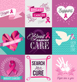 Breast cancer awareness campaign flat design set vector image