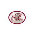 Bulldog Dog Mongrel Prowling Oval Cartoon vector image vector image
