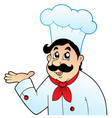 cartoon chef in big hat vector image vector image