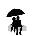 children sitting under umbrella part two vector image vector image