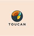 circular geometric toucan bird logo icon template vector image