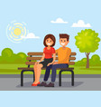 couple outdoors in the park sitting vector image vector image