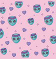 cute aliens face background vector image