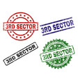 damaged textured 3rd sector stamp seals vector image vector image