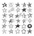 doodle star set holiday design elements vector image