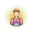 Farmer comics icon vector image vector image