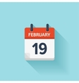 february 19 flat daily calendar icon date vector image vector image
