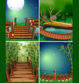 four forest scenes at night time vector image vector image