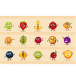 funny icons of fruits vector image