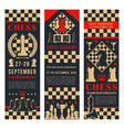game tournament banners with chess pieces vector image vector image