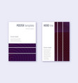 geometric cover design template set violet abstra vector image