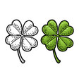 good luck four leaf clover vintage color vector image vector image