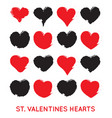 grungy hand draw hearts valentins day symbol vector image vector image
