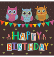 Happy Birthday greeting card with cute owls vector image
