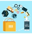 Internet shopping process and delivery vector image vector image
