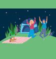 jumping women tent blanket camping picnic night vector image