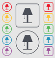 Lamp icon sign Symbols on the Round and square vector image