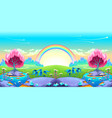 landscape of dreams with rainbow vector image vector image