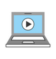 laptop with media player isolated icon vector image vector image