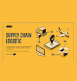 logistics company supply chain isometric webpage vector image vector image