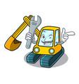 mechanic excavator mascot cartoon style vector image vector image