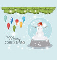 mery christmas card with snowman and sphere vector image vector image