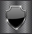 metal 3d black shield on metal perforated vector image