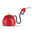 money flows from the purse through fuel nozzle vector image vector image