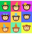 monkey head icon vector image vector image