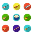 Musical instruments set icons in flat style Big vector image