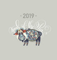 original new year poster - 2019 year of the pig vector image