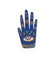 ornate hand with sacred symbols boho style design vector image vector image
