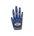 ornate hand with sacred symbols boho style design vector image