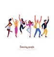 party dancers smiling people dancing having fun vector image