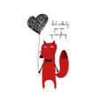 red fox holding a heart balloon vector image vector image