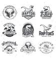 set dino logos t-rex skull t-shirt vector image