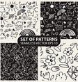 set of seamless hand drawn patterns in the style vector image vector image
