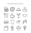 Set of simple icons for bar cafe and restaurant vector image vector image