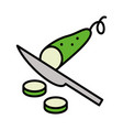 slicing cucumber by knife flat style vector image vector image