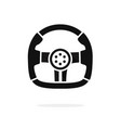 steering wheel icon black and white shape vector image vector image