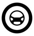 steering wheel the black color icon in circle or vector image vector image