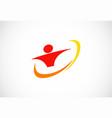 swoosh people logo vector image vector image