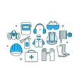 Thin line flat design banner of safety work vector image