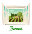 window with view on summer farm or garden vector image vector image