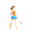 young woman playing tennis female sportsman vector image vector image