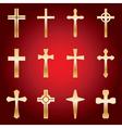 12 Golden Crosses vector image