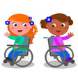 happy girls on wheelchair vector image