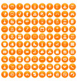 100 mother and child icons set orange vector image vector image
